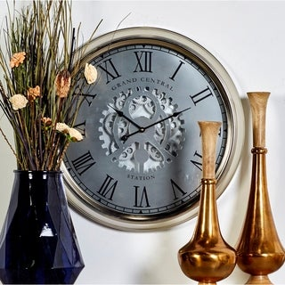 Benzara Metal Silver 24-inch Diameter Wall Clock