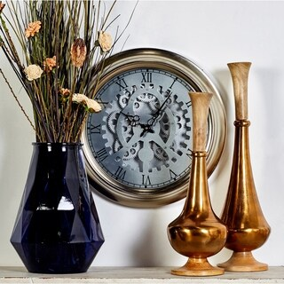 Benzara Silver, Black, and White Metal 19-inch Skeleton Wall Clock