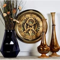 Industrial 19 Inch Round Wall Clock with Exposed Gears by Studio 350