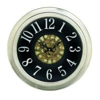 Benzara Black and Silver Metal 18-inch Diameter Wall Clock