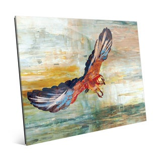 'Impasto Eurasian Jay Vermillion' Glass Wall Art