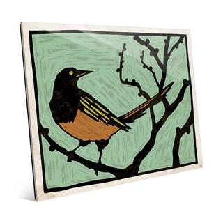 'Bird Wood Block Green' Glass Wall Art Print
