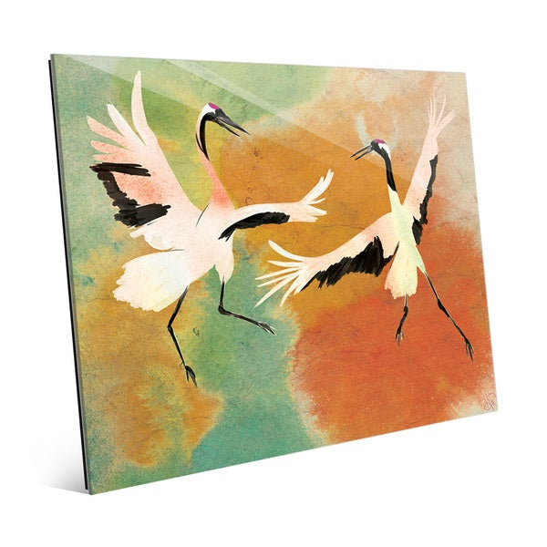Dancing Cranes on Chartreuse Glass Wall Art