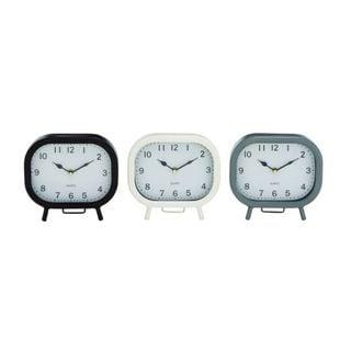 Benzara Metal 8-inch Assorted Table Clocks (Pack of 3)