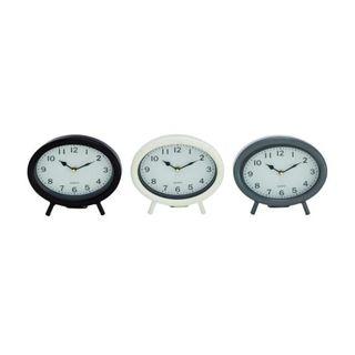 Bezara Metal 8-inch Wide x 7-inch High Assorted Table Clocks (Set of 3)