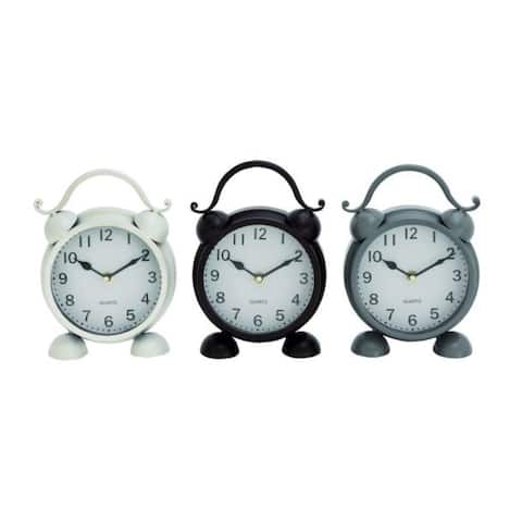 Copper Grove Chatfield Metal 6-inch-wide 9-inch-high Table Clock (Pack of 3)