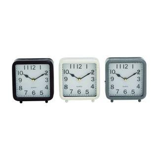 Benzara Black, White, and Grey Metal Table Clocks (Pack of 3)