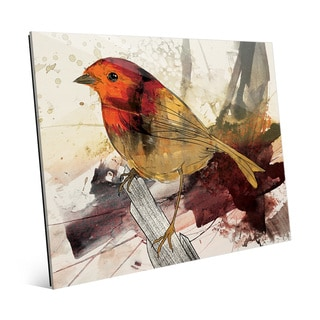 Expressionist Vermillion Robin Glass Wall Art