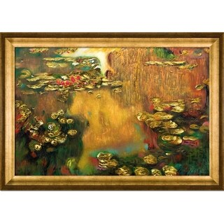 Claude Monet 'Water Lilies' (Luxury Line) Hand Painted Framed Oil Reproduction on Canvas