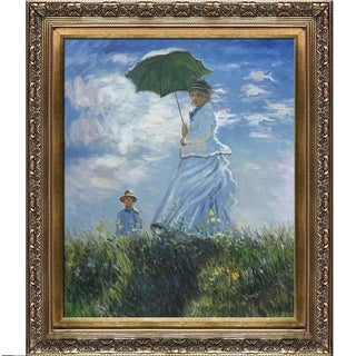 Claude Monet 'Madame Monet and her Son' Hand-painted Framed Canvas Art