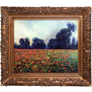 Claude Moent 'Poppies at Giverny' Hand Painted Framed Oil Reproduction on Canvas