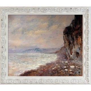 Claude Monet 'Cliffs at Pourville in the Fog' Hand Painted Framed Oil Reproduction on Canvas