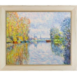Claude Monet 'Autumn on the Seine at Argenteuil' Hand Painted Framed Oil Reproduction on Canvas