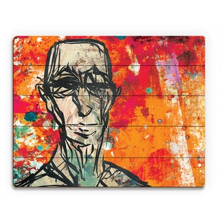 'Elderly Figure' Multicolored Wood Scarlet Wall Art Print