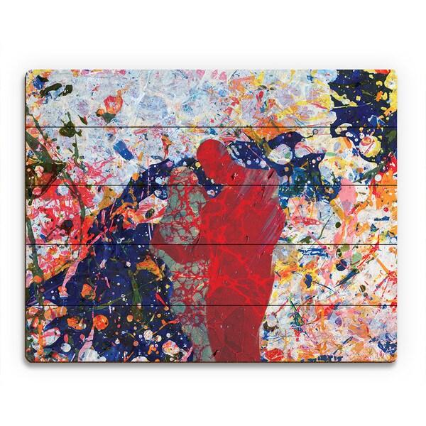 'First Sight Crimson' Wood Wall Art Print