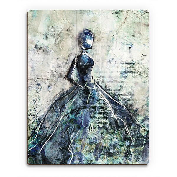 'Blue Gown' Wood Wall Art Print