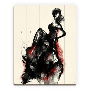 'Woman in Dress' Red Accent Print on Wood Wall Art
