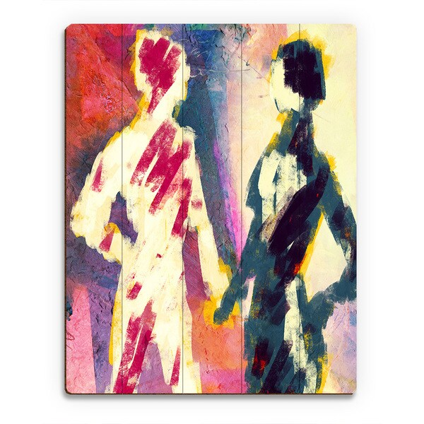 'Couple Figures Dusk' Wood Wall Art Print