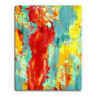 'Abstract Figure' Multicolored Birchwood Pop Wall Art