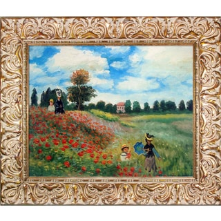 Claude Monet 'Poppy Field in Argenteuil' Hand Painted Framed Oil Reproduction on Canvas