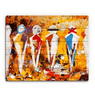 'Abstract Figure Lineup' Multicolored Wood Wall Art