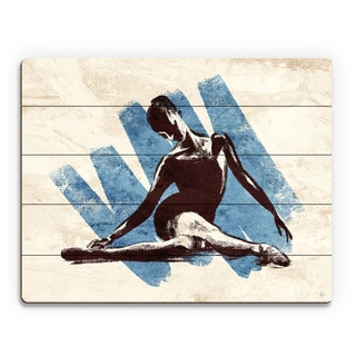 Stretching Ballerina Blue Wood Wall Art Print