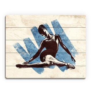 Stretching Ballerina Blue Wood Wall Art Print