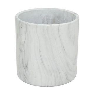 White Marble 8-inch Flower Pot