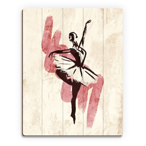 'Gestural Ballerina' Pink Print on Wood Wall Art