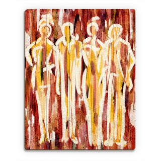 'Abstract Group' Red Wood Wall Art Print