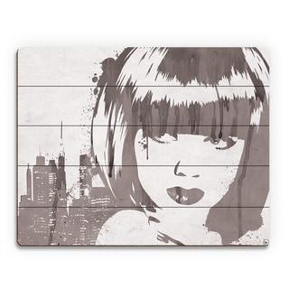'Lusty Drippy' Grey Wood Wall Art Print