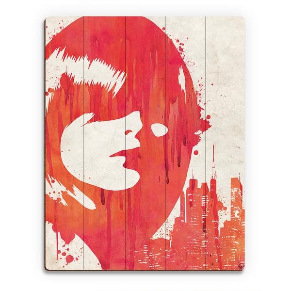 'Drippy City Girl' Red Wood Wall Art Print