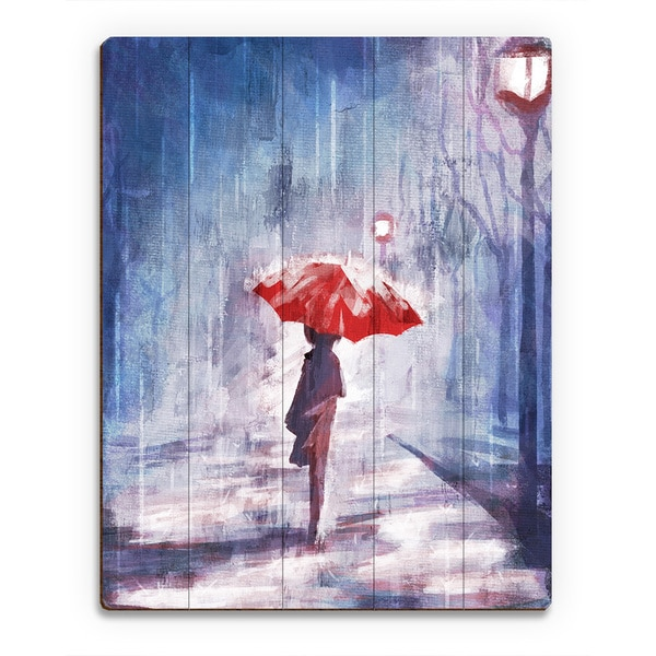 'A Rainy Walk' Wood Wall Art Print
