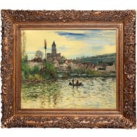 Claude Monet 'The Seine at Vetheuil' Hand Painted Framed Oil Reproduction on Canvas