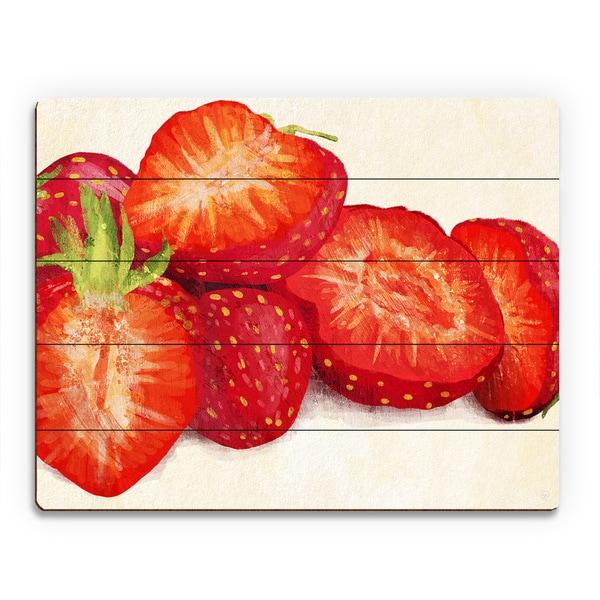 'Painted Strawberries' Wood Wall Art Print