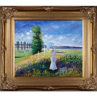Claude Monet 'La Promenade (Argenteuil)' Hand Painted Framed Oil Reproduction on Canvas