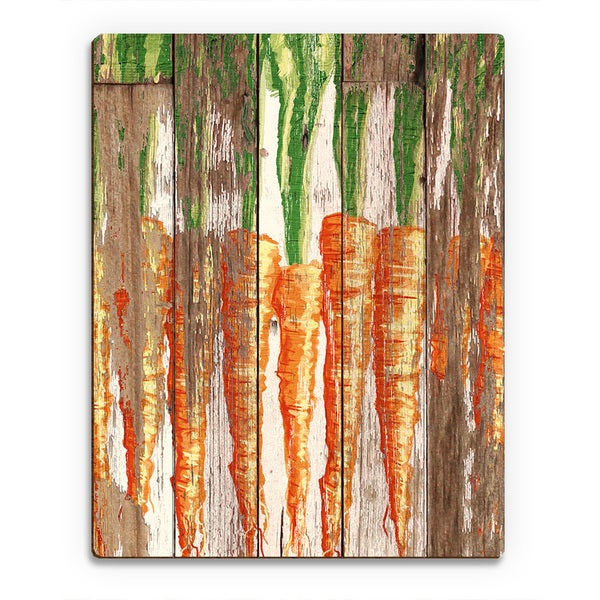 'Row of Carrots' Planked Wood Wall Art Print