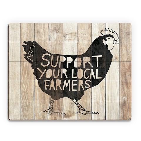 'Local Farmers Chicken' Wood Wall Art Print