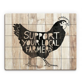 'Local Farmers Chicken' Wood Wall Art Print