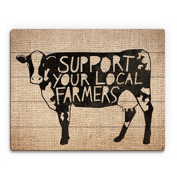 'Local Farmers Cow Burlap' Wood Wall Art Print