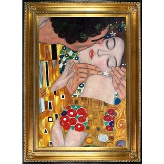 Gustav Klimt 'The Kiss' (close-up) Hand Painted Framed Oil Reproduction on Canvas