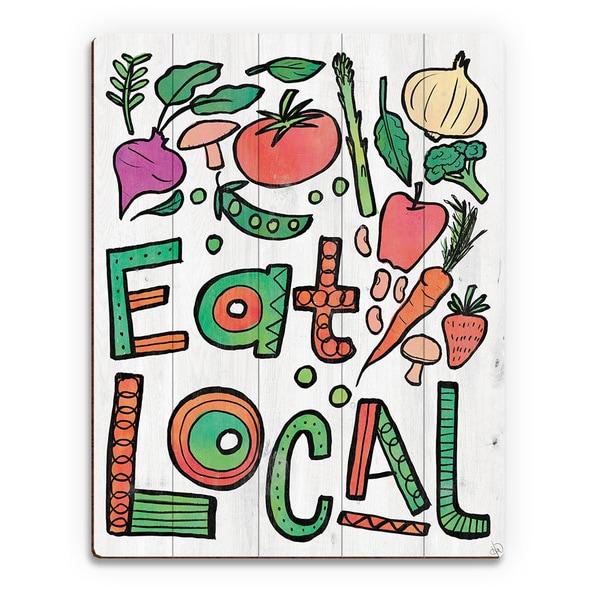 'Eat Local Alpha' Birchwood Wall Art Print