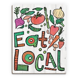 'Eat Local Alpha' Birchwood Wall Art Print