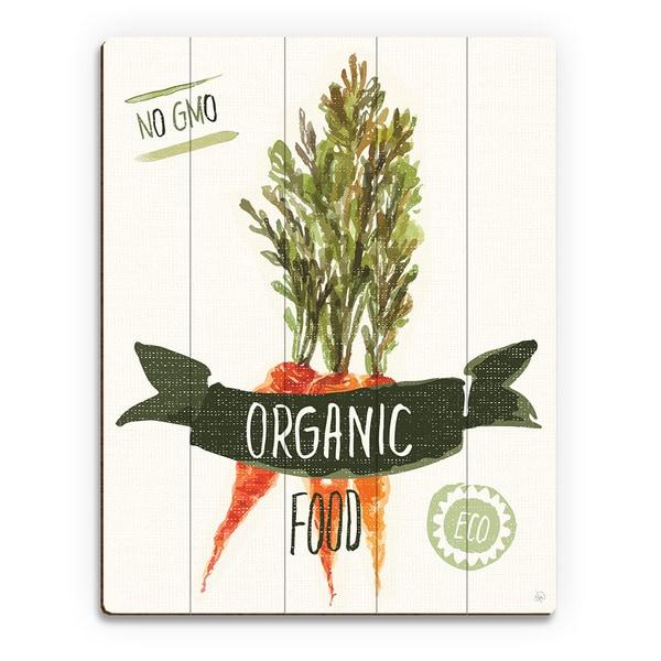 'Organic Food Carrots Green' Wood Wall Art Print