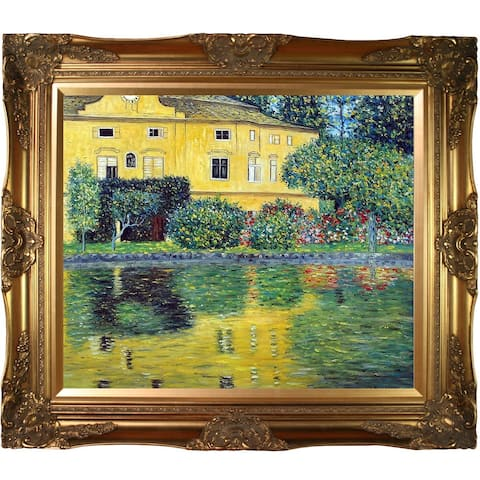 Gustav Klimt 'Schloss Kammer on Attersee' (Horizontal) Hand Painted Framed Oil Reproduction on Canvas