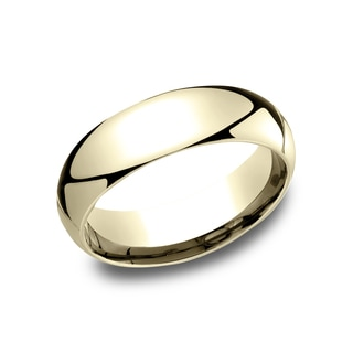 Men's 6MM 14K Yellow Gold Comfort-Fit Traditional Wedding Band