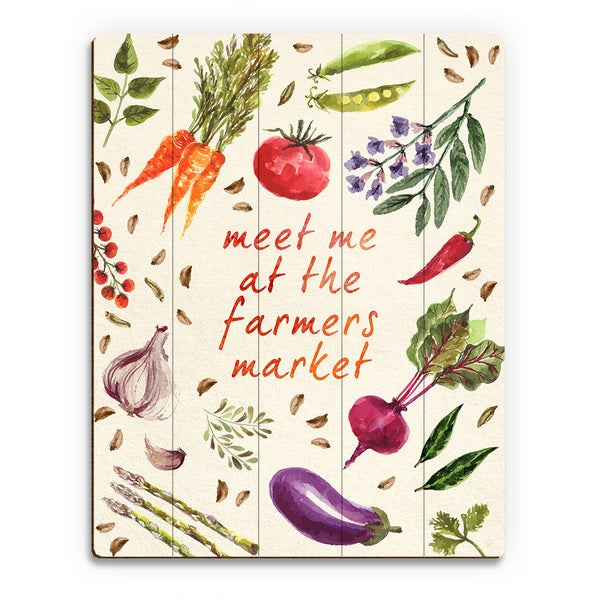 'Vegetable Collage Farmer's Market' Wood Wall Art