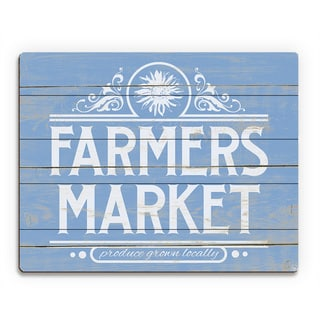 Farmers Market Sign Blue Wood Wall Art