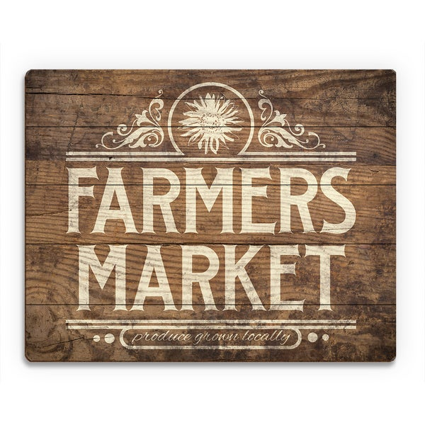 Farmers Market Sign Stained Wood Wall Art