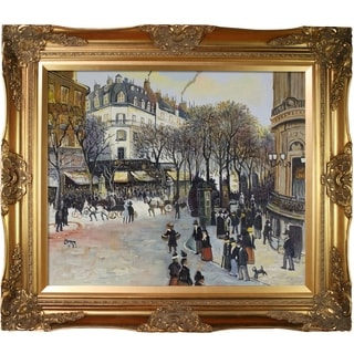 Jean Francois Raffaelli 'Boulevard des Italiens' Hand Painted Framed Oil Reproduction on Canvas